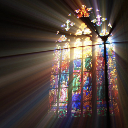 Light streaming in through stained glass